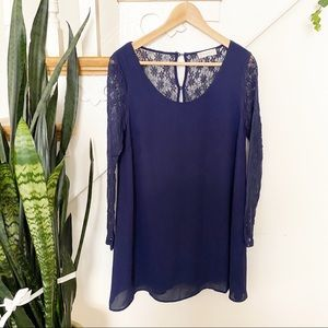 Altar'd State lace sleeves nay blue mini dress S